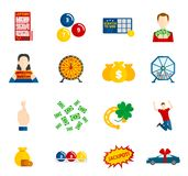 Lottery Icon Flat Set Royalty Free Stock Photo