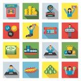 Lottery Icons Flat Set Stock Photos