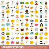 100 lottery icons set, flat style Royalty Free Stock Photography