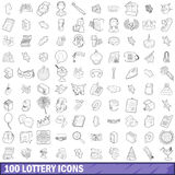 100 lottery icons set, outline style. 100 lottery icons set in outline style for any design vector illustration Stock Image