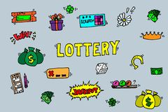 Lottery icons set Stock Image