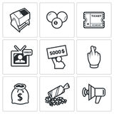 Lottery icons. Vector Illustration. Royalty Free Stock Images
