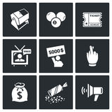 Lottery icons. Vector Illustration. Stock Image