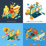 Lottery And Jackpot Concept Icons Set. With luck and prize symbols isometric vector illustration stock illustration