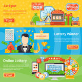 Lottery And Jackpot Horizontal Banners Stock Photos