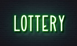 Lottery neon sign Royalty Free Stock Image
