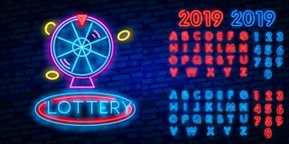 Lottery is a neon sign. Neon logo, emblem gambling, bright banner, neon casino advertising for your projects. Night light. Billboard, design element royalty free illustration