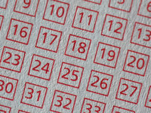Lottery number sheet Royalty Free Stock Photos