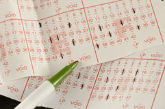 Lottery play slip. Picture of used lotto play slips Stock Images