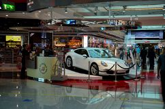 Lottery Porsche displayed at Dubai Airport Duty Free complex UAE Stock Images