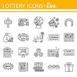 Lottery and profit fortune games black icon set isolated Stock Images