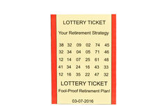 Lottery Retirement. Lottery ticket retirement plan on white background Royalty Free Stock Images