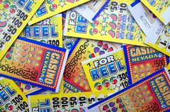 Lottery Scratch Cards for Cash Prizes in British Pounds Stock Images
