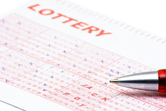 Lottery ticket. With numbers that spell JACKPOT Stock Images