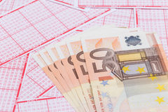 Lottery ticket with euro bank note Stock Photography