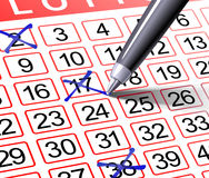 Lottery. Ticket filled out by a ball pen royalty free stock photography