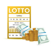 Lottery ticket and money, close up illustration Royalty Free Stock Image