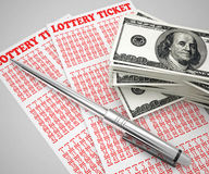Lottery ticket and money concept Royalty Free Stock Photography