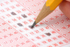 Lottery Ticket and pencil. Close up shot Royalty Free Stock Image