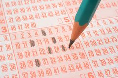 Lottery ticket and pencil #2 Royalty Free Stock Photography