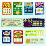 Lottery ticket vector lucky bingo card win chance lotto game jackpot set illustration lottery gaming tickets isolated on Royalty Free Stock Images