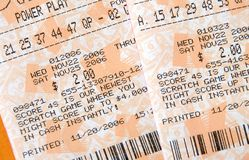Lottery Tickets. Losing or winning lottery tickets Stock Photo