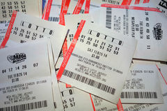 Lottery Tickets. Tickets for different games of the New York Lottery Royalty Free Stock Images