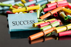 Lottery tickets and opened Ticket with word success Royalty Free Stock Images