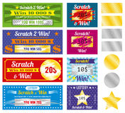 Lottery tickets of scratch and win with effect from marks. Vector set Royalty Free Stock Photo