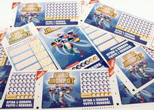 Lottery tickets Super Enalotto Royalty Free Stock Photo
