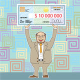 Lottery Winner 10M Holding a Check Vector Stock Photography
