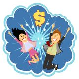 Lottery winners. Celebrating leaping in the air and cheering with delight in front of an explosion with a dollar sign depicting their win  vector bubble Royalty Free Stock Images
