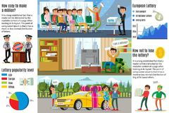 Lottery Winners Infographic Horizontal Banners. With men winning in lotto television game and woman surprised at car prize vector illustration Royalty Free Stock Photos