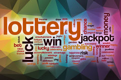 Lottery word cloud with abstract background Stock Images