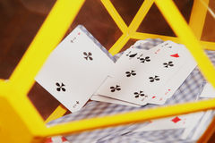 Lottery. Yellow lototron with game cards Royalty Free Stock Photos