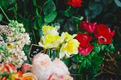 Lotti dei fiori in un negozio di fiore Fotografia Stock