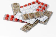 Lotti dei pacchetti delle pillole fotografia stock