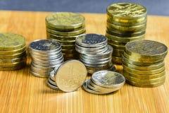 Lotti delle monete ceche metalliche Immagine Stock Libera da Diritti