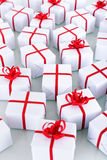 Lotti di piccoli regali di Natale Fotografia Stock