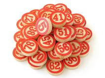 Lotto 1. Classic lotto wooden counters set Royalty Free Stock Images