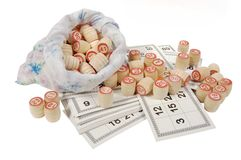 Lotto. Game: wooden kegs in a sack and game cards Royalty Free Stock Image