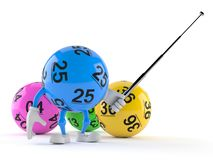 Lotto ball character aiming with pointer stick. Isolated on white background. 3d illustration stock illustration