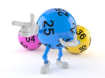 Lotto ball character pointing finger stock illustration
