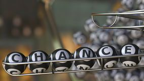 Lotto balls make up CHANCE word. Realistic 3D rendering. Lotto balls make up CHANCE word. 3D Royalty Free Stock Image