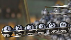Lotto balls make up number 1 2 3 4 5 6 sequence. 3D rendering. Lotto balls make up number. 3D Stock Photo
