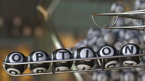 Lotto balls make up OPTION word. 3D rendering. Lotto balls make up OPTION word. 3D Stock Photography
