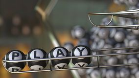 Lotto balls make up PLAY word. 3D rendering. Lotto balls make up PLAY word. 3D Royalty Free Stock Photography