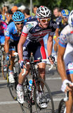 Lotto-Belisol Australian cyclist Adam Hansen. Rides with the pack during the Vuelta Ciclista a Espana cycling race in Barcelona on August 26, 2012 Royalty Free Stock Photography
