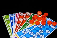 Lotto Bingo Tombala Gambling Game Entertainment On Black Background Stock Photo