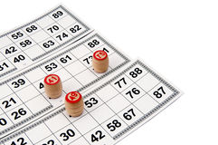 Lotto cards. And small lotto-casks with figures Stock Photos